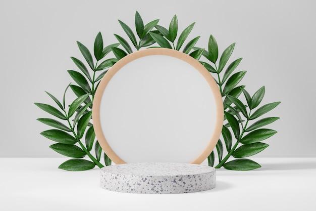 코스메틱 디스플레이 제품 스탠드, 흰색 대리석 원형 실린더 연단 및 녹색 잎 배경이 있는 원형 나무 프레임 벽. 3d 렌더링 그림