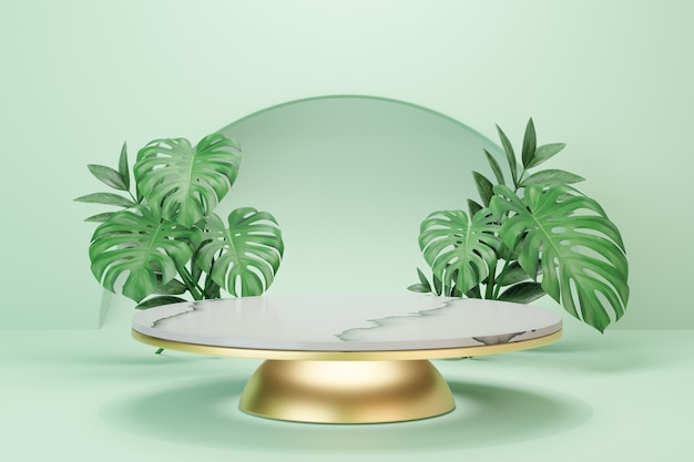 Cosmetic display product stand, white marble round cylinder podium and gold with green leaf background. 3d rendering illustration