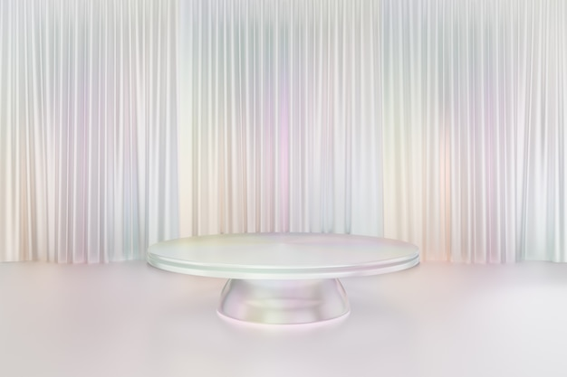 Cosmetic display product stand, white pearl color round cylinder sphere podium reflection colorful on glossy white curtain background. 3d rendering illustration