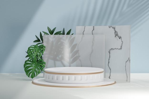 코스메틱 디스플레이 제품 스탠드, 흰색 로마 원형 실린더 연단 및 녹색 잎 배경이 있는 흰색 대리석 유리 벽. 3d 렌더링 그림