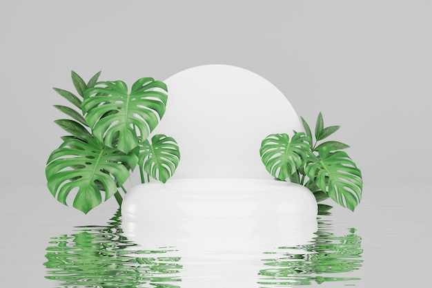 Cosmetic display product stand, white round cylinder podium with green leaf background. 3d rendering illustration