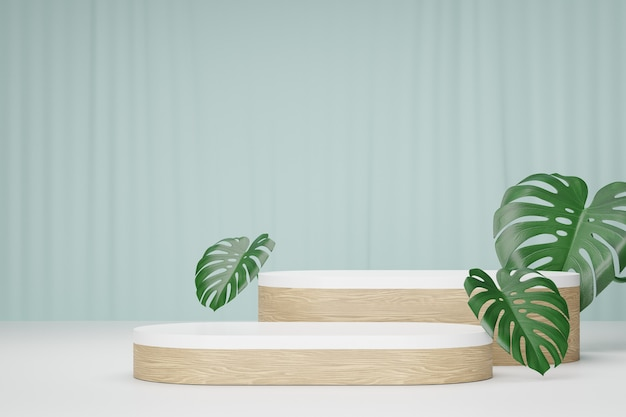 코스메틱 디스플레이 제품 스탠드, 녹색 잎 배경이 있는 흰색 나무 둥근 긴 연단. 3d 렌더링 그림