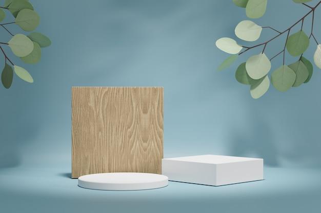 코스메틱 디스플레이 제품 스탠드, 나무 블록, 흰색 실린더 연단 및 파란색 배경에 녹색 잎 식물. 3d 렌더링 그림