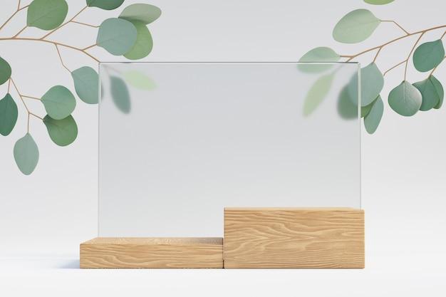 코스메틱 디스플레이 제품 스탠드, 유리 벽이 있는 목재 블록 연단, 밝은 배경에 녹색 잎 식물. 3d 렌더링 그림
