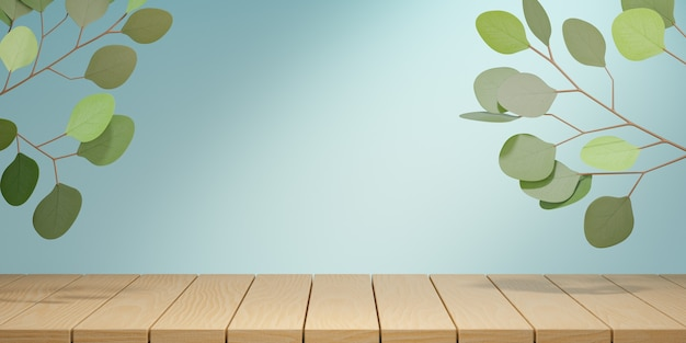 Cosmetic display product stand, wood board top table and green leaf plant on blue background. 3d rendering illustration