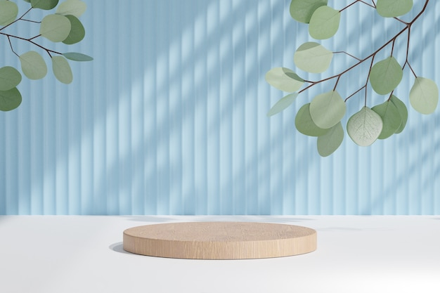 Cosmetic display product stand, wood cylinder podium and green leaf plant on blue background. 3d rendering illustration