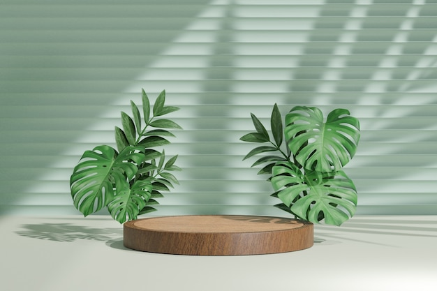 Cosmetic display product stand, wood cylinder podium and green plant leaf on green background. 3d rendering illustration