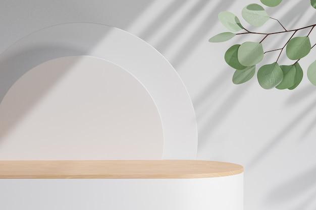 화장품 디스플레이 제품 스탠드, 흰색 블록에 나무 실린더 연단, 흰색 배경에 녹색 잎 식물. 3d 렌더링 그림