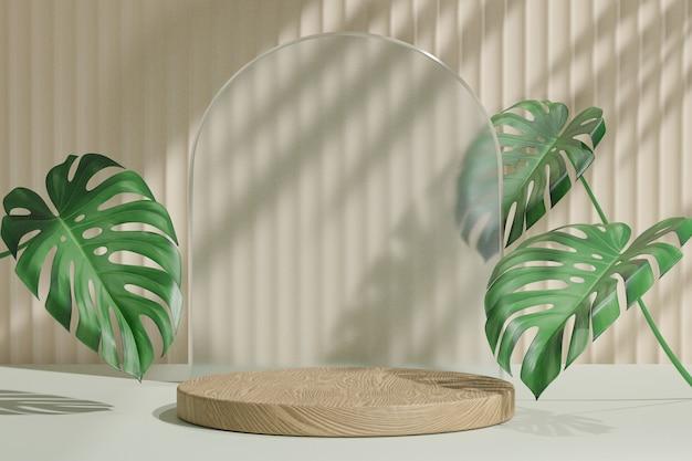 코스메틱 디스플레이 제품 스탠드, 원형 아치 매트 유리 벽 및 밝은 배경에 자연 잎이 있는 목재 실린더 연단. 3d 렌더링 그림