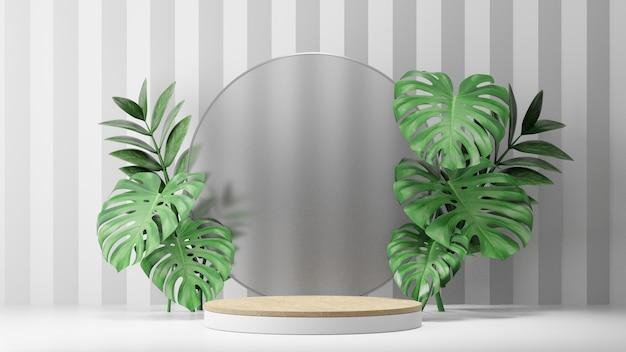 코스메틱 디스플레이 제품 스탠드, 원형 매트 유리 벽 및 흰색 배경에 자연 잎이 있는 목재 실린더 연단. 3d 렌더링 그림