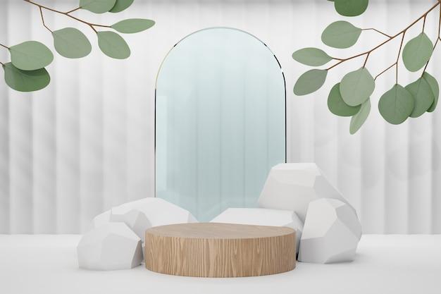 코스메틱 디스플레이 제품 스탠드, 원형 무광택 유리 벽 및 흰색 배경에 돌 자연 잎이 있는 목재 실린더 연단. 3d 렌더링 그림