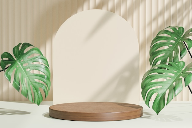 코스메틱 디스플레이 제품 스탠드, 우드 라운드 실린더 연단 및 녹색 잎 배경이 있는 파스텔 아치 벽. 3d 렌더링 그림