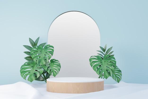 코스메틱 디스플레이 제품 스탠드, 우드 라운드 실린더 연단 및 녹색 잎 배경이 있는 파스텔 블루 아치 벽. 3d 렌더링 그림
