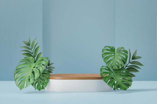 Cosmetic display product stand, wood white cylinder podium and green plant leaf on blue background. 3d rendering illustration