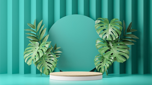 Cosmetic display product stand, wood white cylinder podium and green plant leaf on green background. 3d rendering illustration