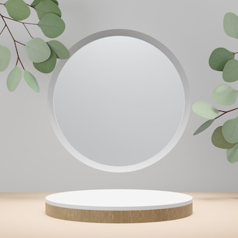 Cosmetic display product stand, wood white cylinder podium with circle frame and green leaf plant on white background. 3d rendering illustration