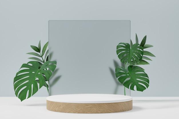 화장품 디스플레이 제품 스탠드, 무광택 유리 벽과 밝은 배경에 잎이 있는 목재 흰색 실린더 연단. 3d 렌더링 그림