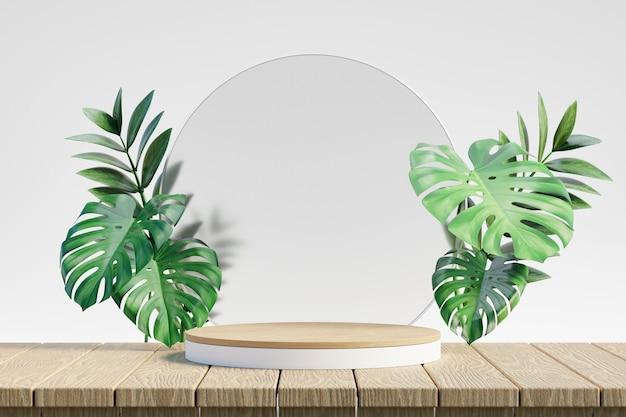 코스메틱 디스플레이 제품 스탠드, 녹색 잎 식물이 있는 나무 흰색 연단, 나무 상판 배경에 원형 유리. 3d 렌더링 그림