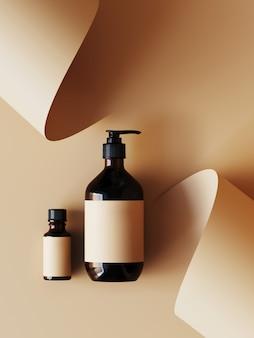 Косметика для презентации продукта. косметическая бутылка на бежевом цветном бумажном рулоне. иллюстрация перевода 3d.