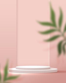 製品プレゼンテーションのブランディングとパッケージングプレゼンテーションのための化粧品の淡いピンクの背景の最小限およびプレミアムの表彰台ディスプレイ。葉の背景の影のあるスタジオステージ。 3dイラストデザイン。
