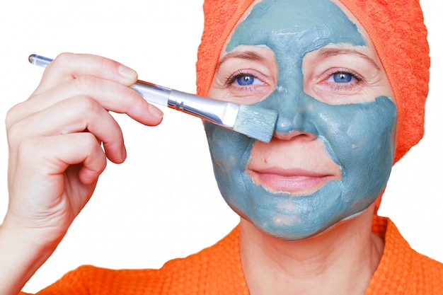 Cosmetic mask on the face.