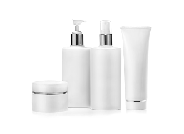 Cosmetic packaging set isolated on white. blank label for branding mockup.