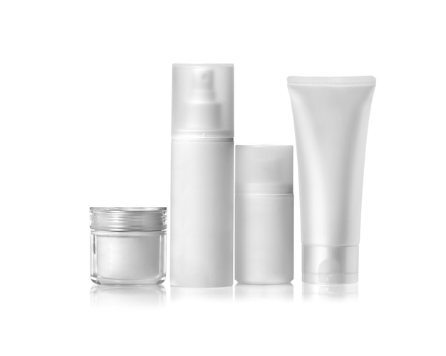 Cosmetic packaging set isolated on white