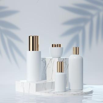 Косметическая пластиковая бутылка для лица и тела крем для рук и тела на минимальном белом фоне