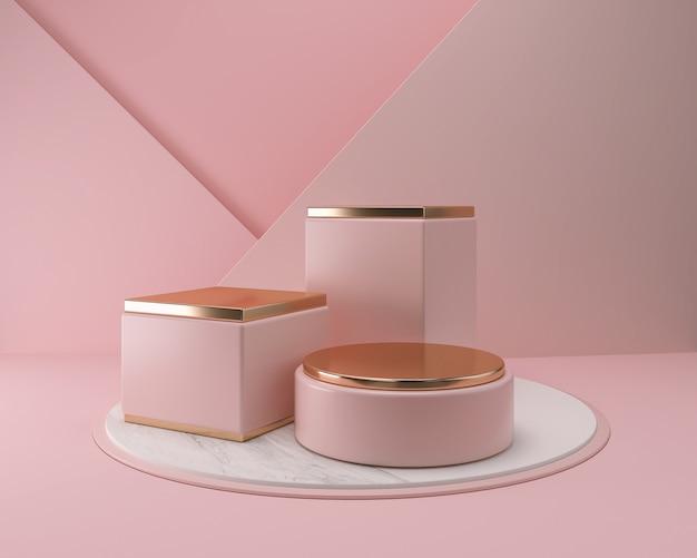 Cosmetic podium display product presentation scene, 3d illustration.