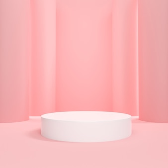Cosmetic podium pink pastel background for product presentation.