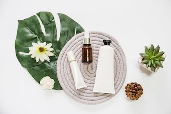 Cosmetic product and essential oil bottle on rope coaster with flower; leaf; pinecone and cactus plant
