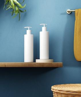 화장품 제품 디스플레이 욕실 인테리어 배경입니다. 3d 그림