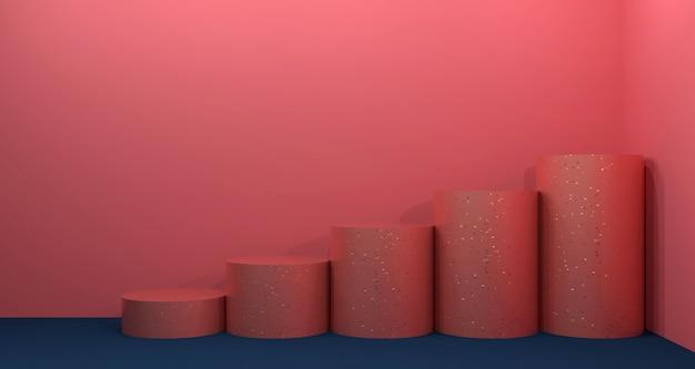 コーラルとブルーのネイビーカラーの化粧品ディスプレイ。背景の3 dレンダリング。