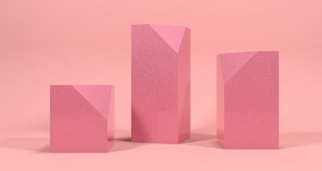 パステルカラーの化粧品展示。背景の3 dレンダリング。