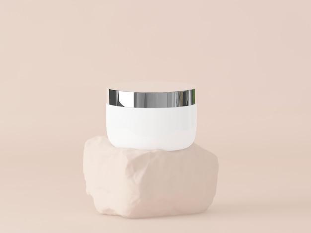 Косметический продукт на камне с пастельно-коричневым фоном. 3d визуализация. минимальная концепция косметики