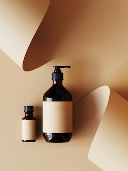 Cosmetic  for product presentation. cosmetic bottle on beige color paper roll . 3d rendering illustration.