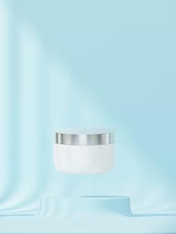 Косметический продукт с пастельным синим фоном