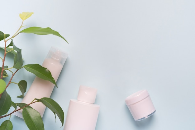 화장품 및 녹색 잎. 컨셉 천연 화장품, 뷰티, 스킨 케어