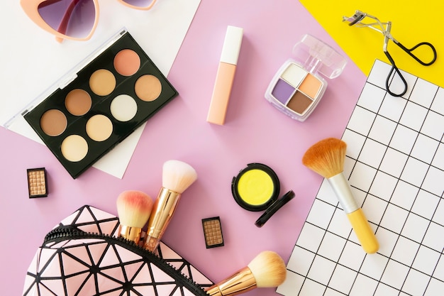 Cosmetic products in bag