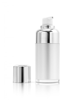 Cosmetic serum bottle with silver cover isolated