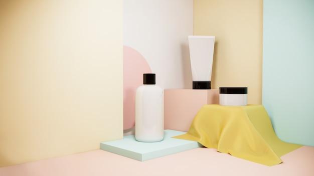パステル、3 dレンダリングデザインに設定された化粧品スキンケアボトルモックアップ