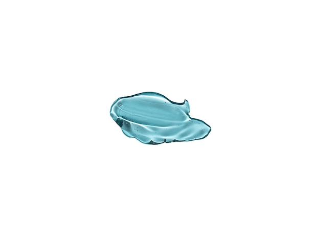 Косметический прозрачный синий всплеск жидкого геля, изолированные на белом фоне