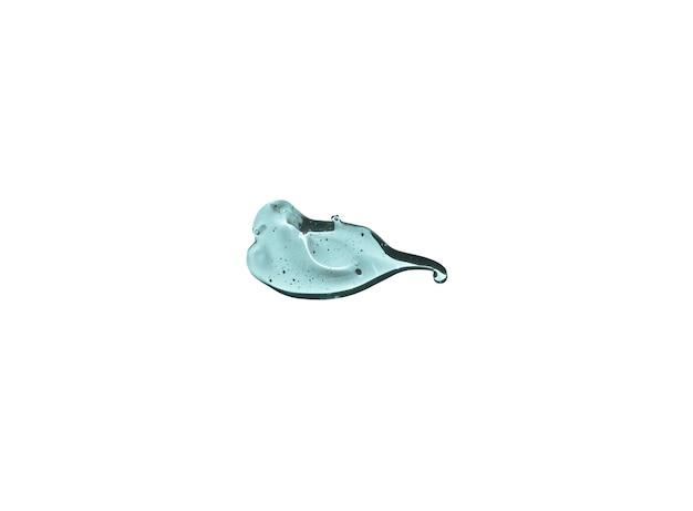 Косметический прозрачный синий всплеск размазывать жидкий гель, изолированные на белом фоне