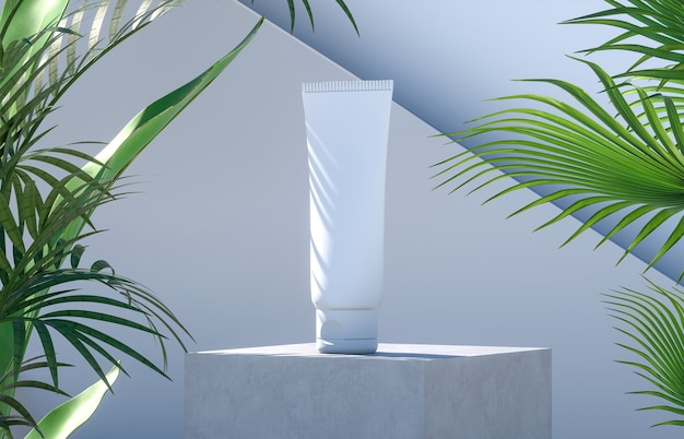 Cosmetic tube on a cement podium with palm leaves