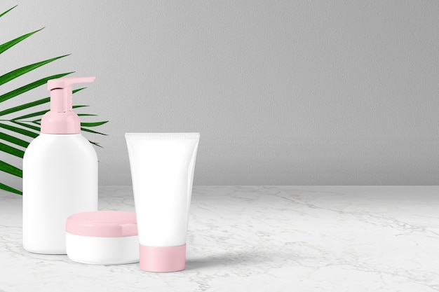 Cosmetic tubes on marble background. cosmetics packaging.