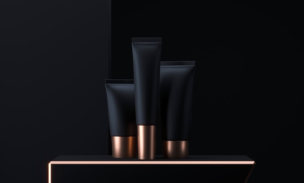 Cosmetic tubes set. cosmetic packaging tube. make up blank face cream tube. trendy black gold realistic beauty products . skin or hair care. 3d rendering