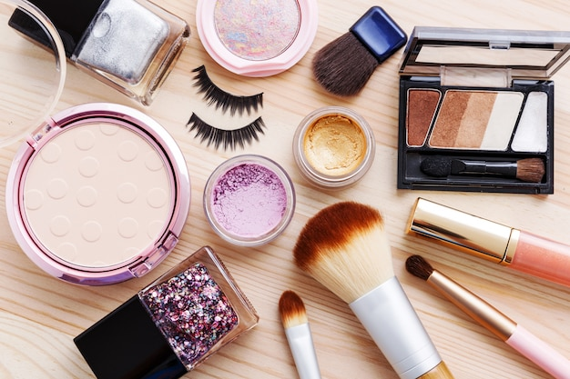 Cosmetic with makeup products and brushes
