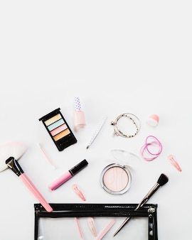 Cosmetics bag with hairdressing and makeup supplies