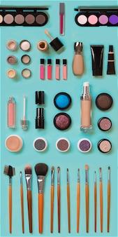 얼굴 메이크업 브러쉬 용 화장품 파우더 립스틱 아이 섀도우 트리머 및 기타 액세서리 파란색 ...