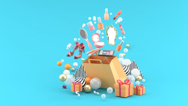 Cosmetics and high heels shoes float out of the bag amid colorful balls on the blue. 3d render